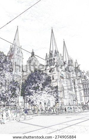 Sketch illustration of Paul's Cathedral in Downtown Melbourne. - stock photo
