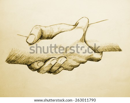 Sketch illustration of two hands holding each other strongly - stock photo
