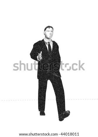 Sketch illustration of walking businessman