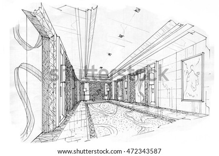 sketch interior perspective lift hall, black and white interior design.