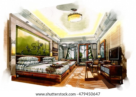 "Interior Design Bedroom Sketches ""pencil sketch of a room"" stock images, royalty-free"