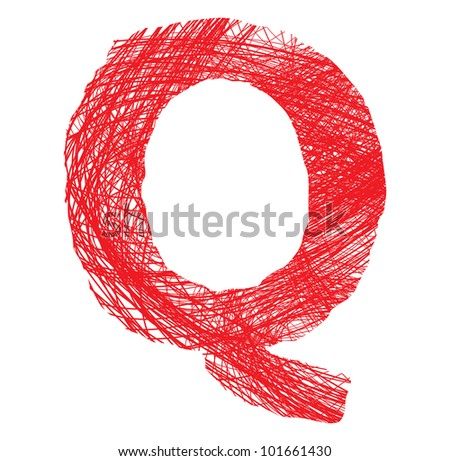 sketch letter Q isolated on white background