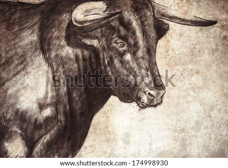 Sketch made with digital tablet of spanish bull - stock photo