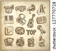 sketch music icon element collection on grunge background, raster version - stock