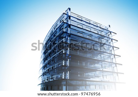 Sketch of a business center in the summer, sunny day - stock photo