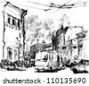 sketch of a city street - stock vector