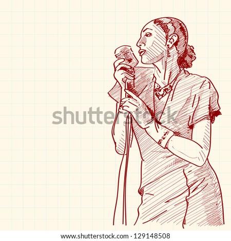 Sketch of a jazz singer. Raster version. - stock photo