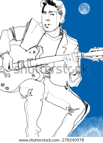 Sketch of a man with a guitar