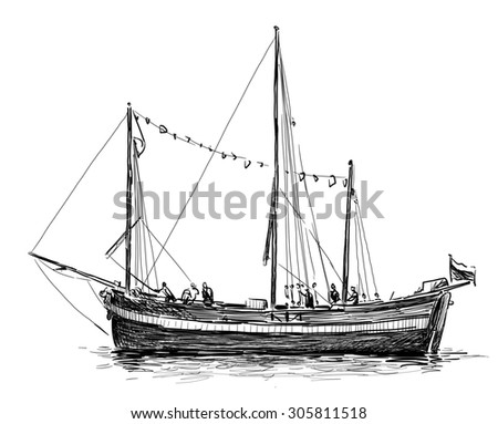 sketch of a sailboat
