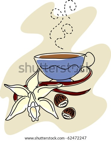 sketch of a vanilla orchid, vanilla beans, and hazelnuts with a steaming cup of flavored coffee.