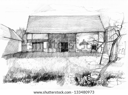 Sketch Of An Old Barn Scan Pencil Drawing