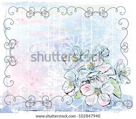 sketch of apple tree in bloom - stock photo