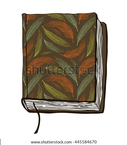 Sketch of book. illustration with hand drown brown cover - stock photo
