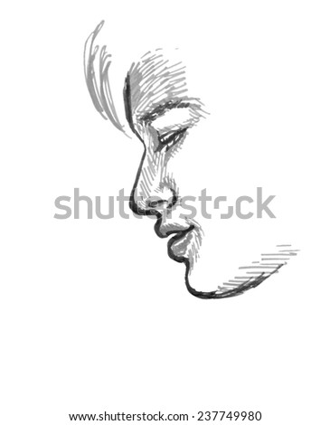 Sketch Of Boy, Side View Of Face, Hand Drawing In Grey Tones On White Background. - stock photo