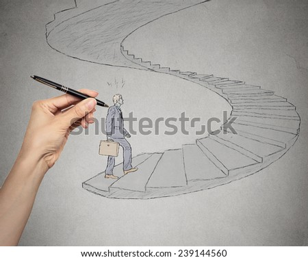 Sketch of business man walking up spiral stairways leading to corporate office. Promotion challenge career concept. Life perception vision attitude determination. Life of young entrepreneur  - stock photo