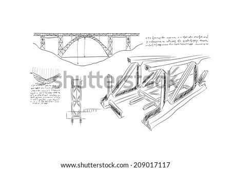 Sketch of construction project on white background