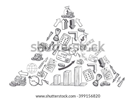 Sketch of hand drawn business and financial doodles shaped triangle isolated on white background - stock photo
