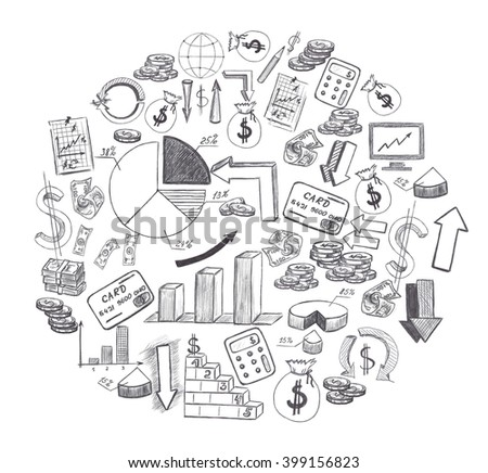 Sketch Hand Drawn Business Plan Elements Stock Illustration