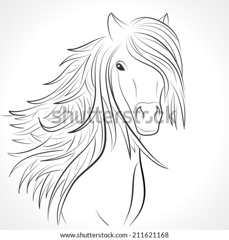 Sketch of horse head with flying mane on white background. Illustration for your animal background. Beautiful, thick and rich hair of horse.