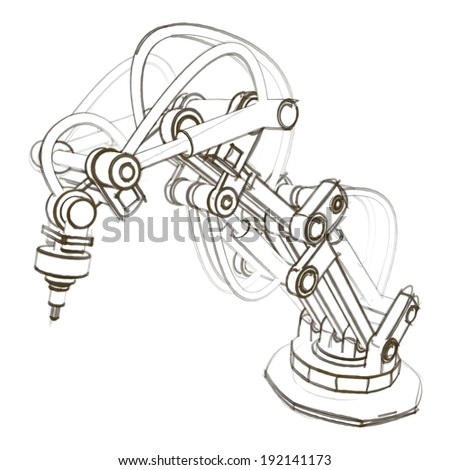Sketch of industrial robot hydraulically operated.
