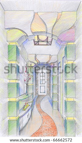 Sketch of interior of hallway - stock photo