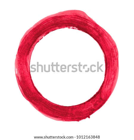 Sketch of isolated red circle painted with thick brush