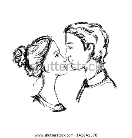 Sketch of loving couple. Man and woman are looking at each other and going to kiss - stock photo