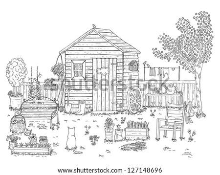 sketch of nice garden coloring book - Garden Coloring Book