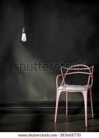 Sketch of pink chair and hanging Edison light bulb near a dark gray wall - stock photo