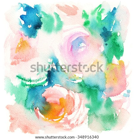 sketch of pink flowers, roses, abstract watercolor background