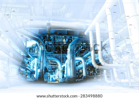 Sketch of piping design mixed with industrial equipment photo - stock photo