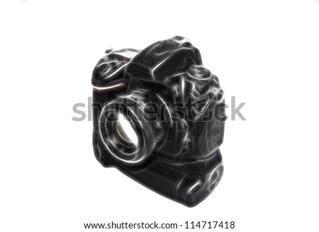 Sketch of professional digital photo camera with lens and battery pack isolated on white background - stock photo