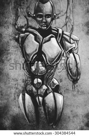 Sketch of tattoo art, android, robot, fantasy illustration - stock photo