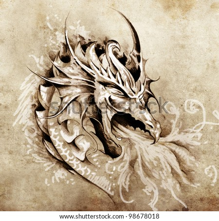 Sketch of tattoo art, anger dragon with white fire - stock photo
