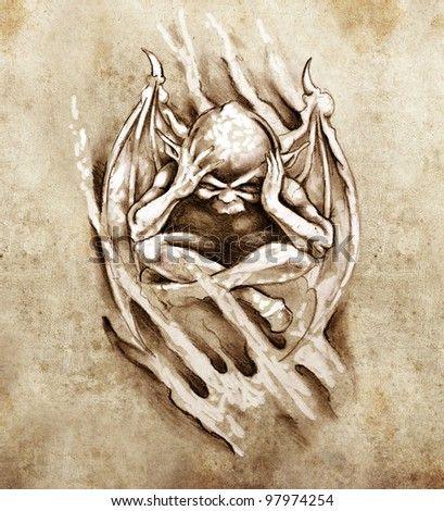 Sketch of tattoo art, anger monster - stock photo