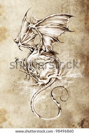 Sketch of tattoo art, classic dragon illustration - stock photo