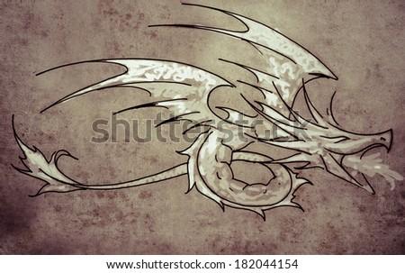Sketch of tattoo art, dragon line  on vintage paper, handmade illustration - stock photo