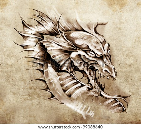 Sketch of tattoo art, dragon over antique paper - stock photo