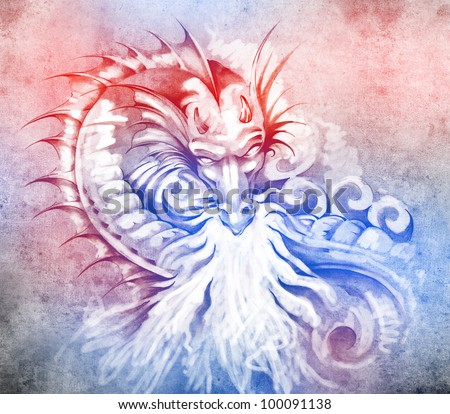 Sketch of tattoo art, fantasy medieval dragon with white fire - stock photo