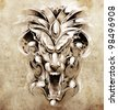 Sketch of tattoo art, gargoyle devil mask - stock photo