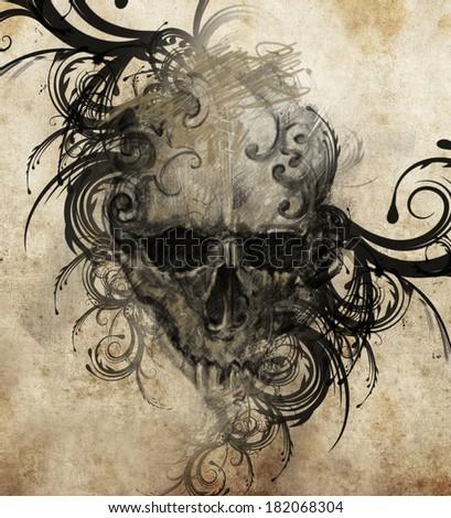 Sketch of tattoo art, handmade illustration - stock photo