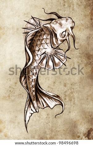 Sketch of tattoo art, japanese goldfish - stock photo