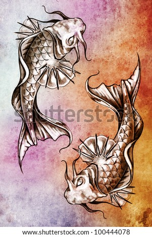 Sketch of tattoo art, japanese goldfish over colorful paper - stock photo