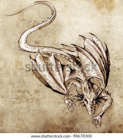 Sketch of tattoo art, modern dragon - stock photo
