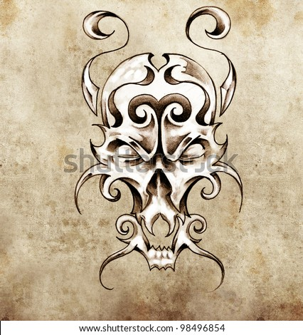 Sketch of tattoo art, monster mask with decorative elements - stock photo