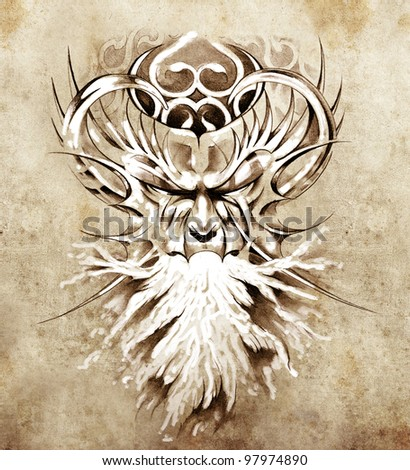 Sketch of tattoo art, monster mask with white fire - stock photo
