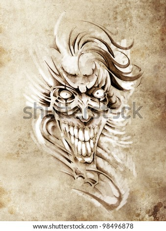 Sketch of tattoo art, smilling skull and clown - stock photo