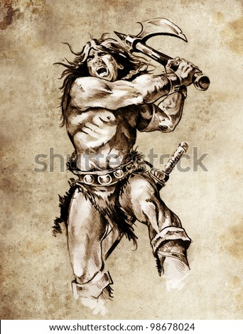 Sketch of tattoo art, warrior fighting with big axe - stock photo