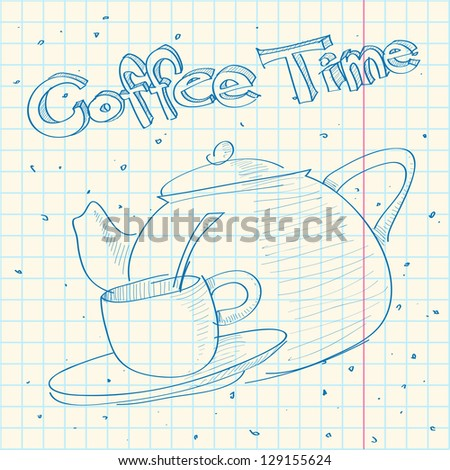 Sketch of teapot in a writing-book. Raster version - stock photo
