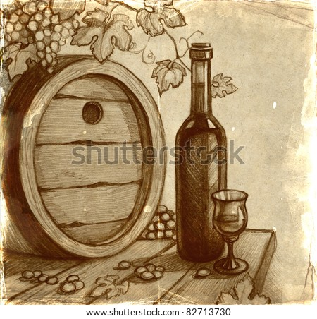 Sketch of wine bottle - stock photo
